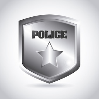 Targa della polizia su sfondo grigio illustrazione vettoriale