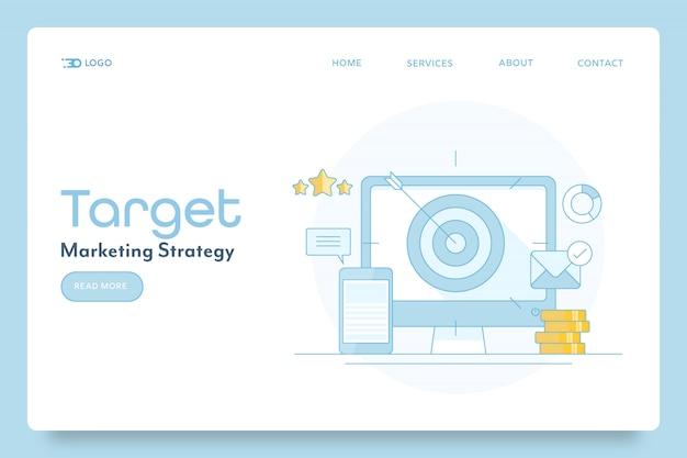Target di marketing per banner concettuale di obiettivi aziendali