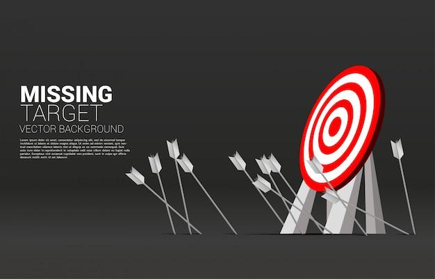 Target mancante di tiro con l'arco della freccia