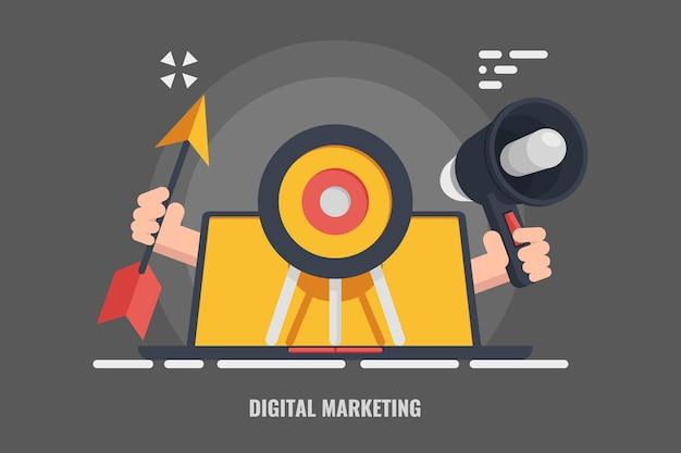 Targeting di pubblicità, marketing digitale, messaggio di altoparlante per la freccia del laptop di destinazione