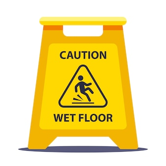 Targhetta informativa gialla attenzione pavimento scivoloso. lavare i pavimenti a scuola. illustrazione vettoriale piatto isolato su sfondo bianco.