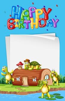 Tartaruga accanto al modello di compleanno della casa