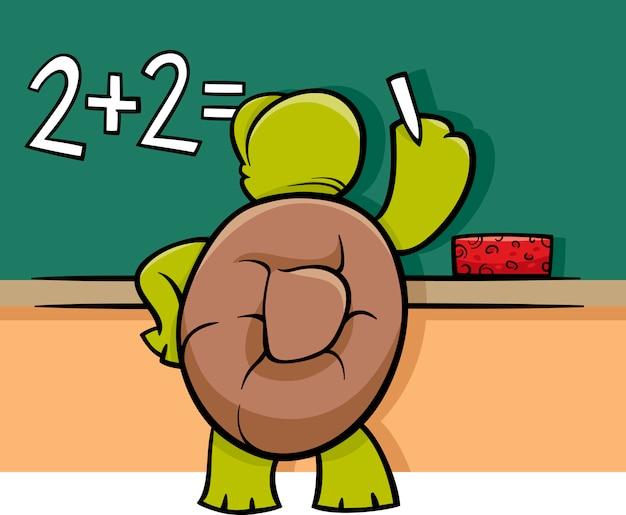 Tartaruga all'illustrazione del fumetto della lavagna