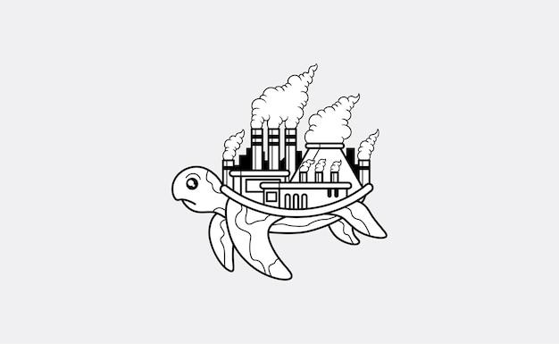 Tartaruga con una fabbrica inquinata sulla sua illustrazione posteriore