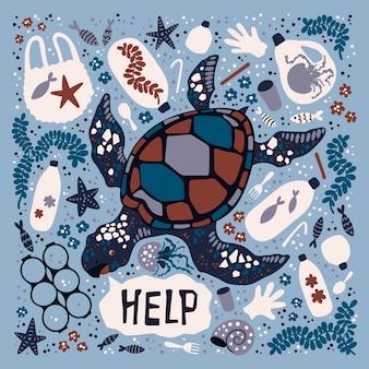 Tartaruga disegnata a mano piatta di vettore circondata da rifiuti e rifiuti marini.