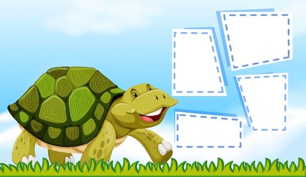Tartaruga sul modello di nota
