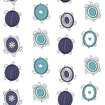 Tartarughe doodle nello stile di scandi.