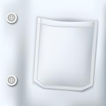 Tasca del primo piano del vestito bianco medico realistico