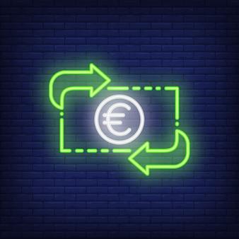 Tasso di cambio dell'euro illustrazione di stile al neon. converti, guadagna, trasferisci. banner di valuta