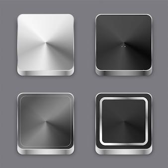 Tasti o icone di metallo spazzolato 3d realistici messi