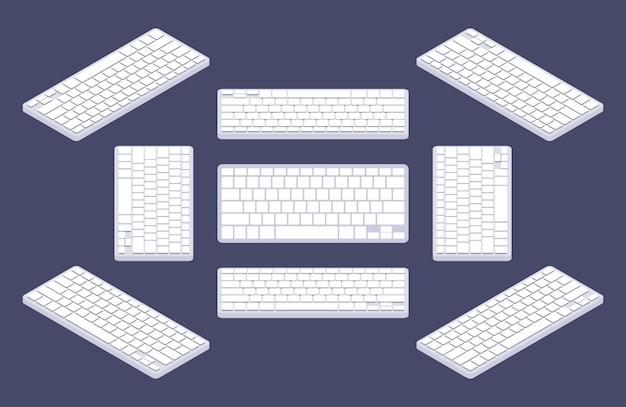 Tastiera di calcolatore bianca generica isometrica con tasti vuoti.