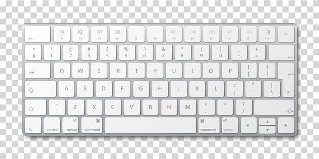 Tastiera di computer moderna in alluminio su sfondo trasparente.
