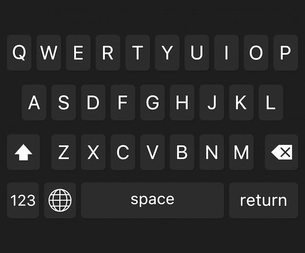 Tastiera moderna di smartphone, pulsanti alfabeto.