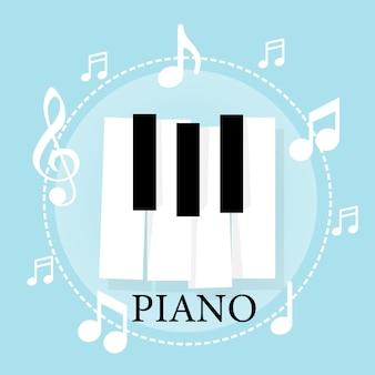 Tastiera per pianoforte musicale con note. poster modello di sfondo
