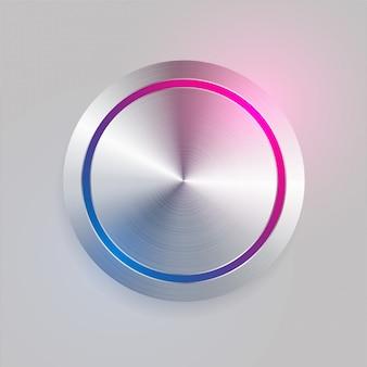 Tasto circolare del metallo spazzolato 3d realistico