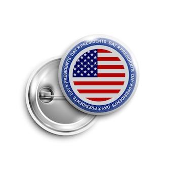 Tasto di giorno di presidenti, distintivo, bandiera isolata