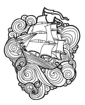 Tattoo art barca tra le onde con disegni al tratto