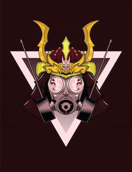 Tattoo design di maschera antigas samurai.