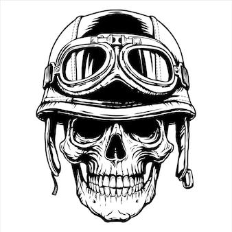Tattoonemblem del casco della testa del cranio del motociclista del motociclista,