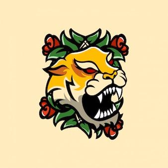 Tatuaggio animali tiger e rose vintage artistic