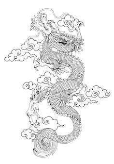 Tatuaggio arte dargon mano disegno e schizzo in bianco e nero