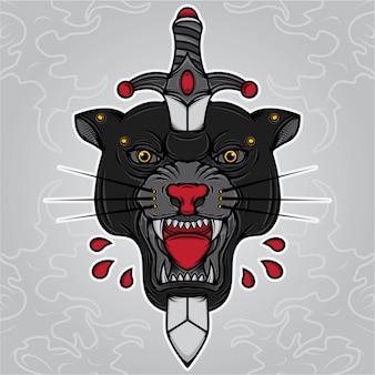 Tatuaggio con testa di pantera nera e pugnale
