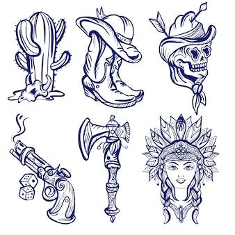 Tatuaggio della vecchia scuola del selvaggio west