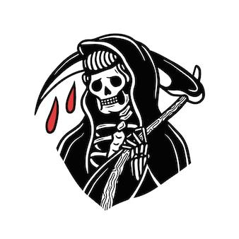 Tatuaggio della vecchia scuola di grim reaper