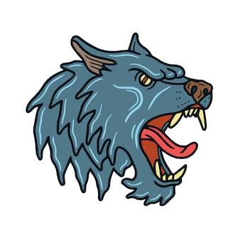 Tatuaggio della vecchia scuola di lupo grigio