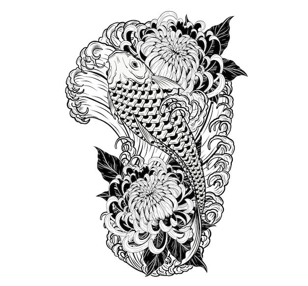 Tatuaggio di koi pesce e crisantemo a mano disegno.