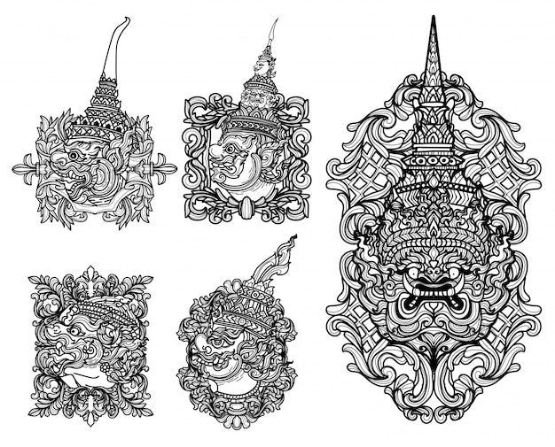 Tatuaggio disegno gigante set mano disegno e schizzo in bianco e nero