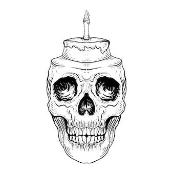 Tatuaggio e t-shirt design disegnato a mano in bianco e nero illustrazione torta di compleanno del cranio