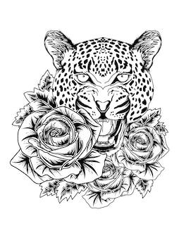 Tatuaggio e tshirt design ghepardo leopardo e rosa disegnati a mano premium