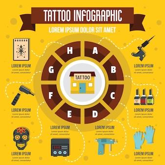 Tatuaggio infografica, stile piatto
