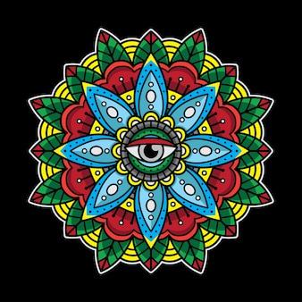 Tatuaggio mandala occhi tradizionali