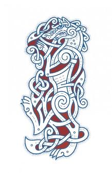 Tatuaggio scandinavo del lupo cattivo