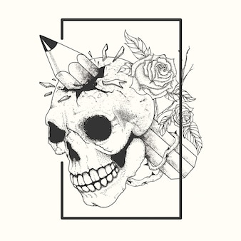 Tatuaggio teschio bianco e nero