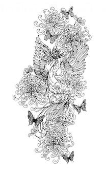 Tatui il disegno e lo schizzo della mano dell'uccello di arte in bianco e nero su fondo bianco.