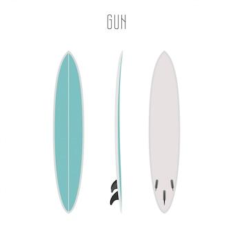 Tavola da surf surf vettoriale con tre lati