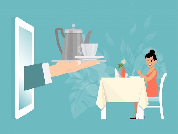 Tavola del ristorante della regolazione del carattere della donna, illustrazione online di servizio di ristorazione di consegna. insieme di tè maschio della stretta della mano del cameriere.