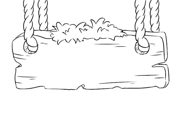 Tavola di legno appesa alle corde. doodle di schizzo di scheda vuota