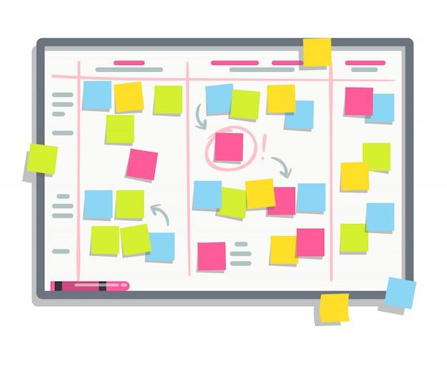 Tavola di pianificazione del processo con note adesive colorate. illustrazione piana di lavagna di compito di mischia.