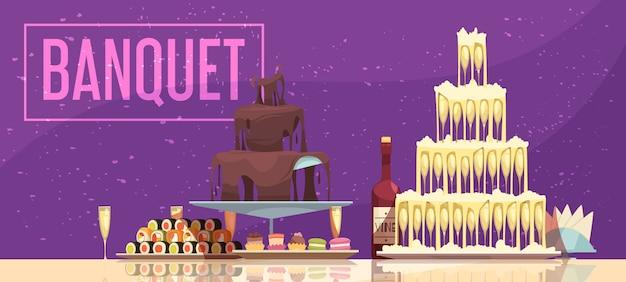 Tavola festiva dell'insegna orizzontale di banchetto con il fondo di porpora dei dolci e degli spuntini della bottiglia e di vetro di vino