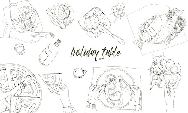 Tavola festiva, tavola apparecchiata, illustrazione disegnata a mano di contorno di feste, vista superiore.