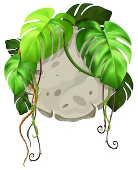 Tavola in pietra decoro foglie di liana.
