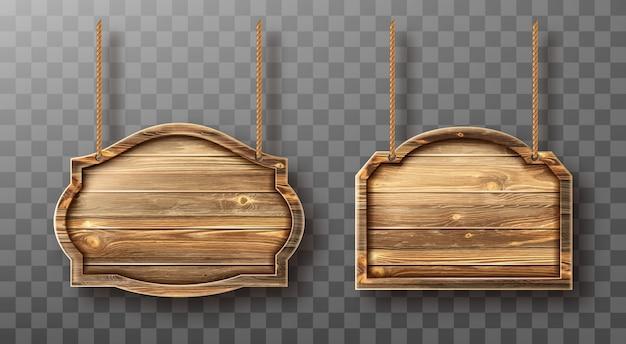 Tavole di legno su corde. insegne realistiche