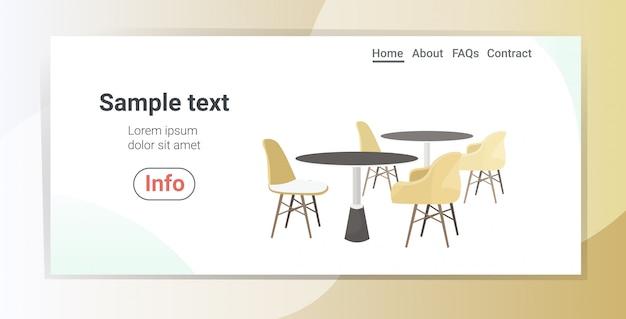 Tavoli da caffè moderni circondati da sedie ristorante mobili copia spazio