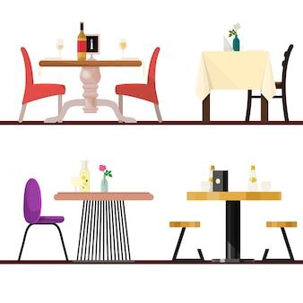 Tavoli del caffè nella regolazione del ristorante tavolo da pranzo di vettore e sedia per pranzo romantico cena data