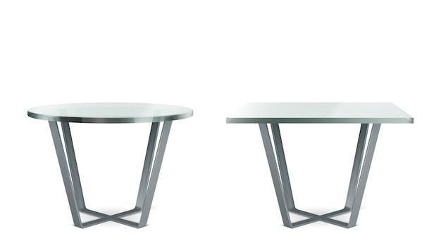Tavoli moderni con piano in vetro rotondo e quadrato. set realistico di cocktail, caffè o tavolo da pranzo con gambe a croce in metallo e piano in plexiglass trasparente isolato su sfondo bianco