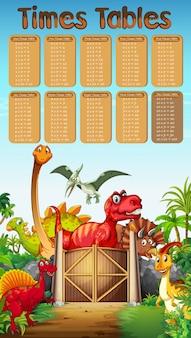 Tavoli orari con molti dinosauri sullo sfondo